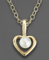 The perfect gift for your favorite little sophisticate. Suspended in the center of this elegant open heart pendant is a lustrous cultured pearl. Crafted of 14k gold. Chain measures 15.