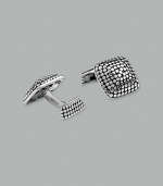 Sterling silver dot square cuff links.  ¾ square  Imported
