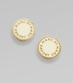 Simple enamel discs display the designer's imprint in raised golden letters. Enamel on brass Diameter, about ½ Post back Imported