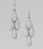 Four shimmering teardrops set with crystals, graphically arranged.Crystal Rhodium plated Drop, about 2 Post-and-hinge back Imported