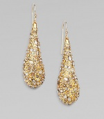 From the Miss Havisham Collection. Dazzling Swarovski crystals encrusted on goldtone teardrops. Swarovski crystalsGoldtoneDrop, about 214k gold filled French wireMade in USA
