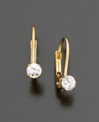 These adorable 14k gold earrings are adorned with a single sparkling 3mm cubic zirconia stone.