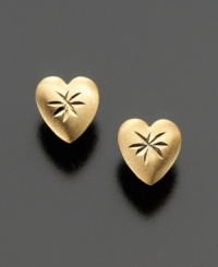 Heart-shaped earrings dazzle in polished 14k gold, embellished with tiny stars.