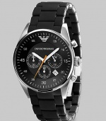A timeless look with a modern touch, designed in solid stainless steel with three-eye chronograph functionality and a silicon-wrapped bracelet Quartz movement Water-resistant to 5ATM/50m Stainless steel case, 43mm, 1.69 Silicon bracelet, 23mm wide, .91 Black dial Date display Imported