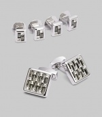 A luxury set that appoints a formal look with polished style, defined by Swarovski crystal detail in rhodium-plated metal. Set includes 2 cuff links and 4 matching shirt studs Cuff links: about ¾ square Shirt studs: about ¼ square Imported