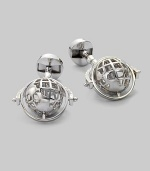 Global style for the sophisticated traveler in polished sterling silver with rotating globe detail. T-backing About 1 diam. Imported