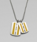 Traditional dog tag inspired design in a metal enamel finish.Metal enamelNecklace, about 24 longMade in Italy