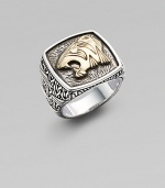 Intricate design features an 18K gold tiger's head on a signature sterling silver ring. Sterling silver18k goldAbout ¾ wideImported