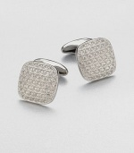 Rounded corners lend an elegant flare to this square cuff link design with engraved gancini logo detail.PalladiumAbout ¾ diam.Made in Italy