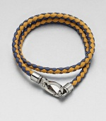 A richly-hued braided leather bracelet perfect for layering and wrap around styling.LeatherAbout 3 diam.Spring claspMade in Italy
