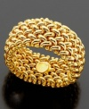 Add rich elegance to your digits. Versatile 14k gold ring boasts a clever woven mesh design. Size 7.