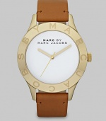 Simply chic timepiece with a luxuriously supple leather strap. Quartz movementWater resistant to 5 ATMRound goldtone stainless steel case, 40mm (1.6)Logo etched bezelWhite enamel dialSecond hand Tan leather strapImported