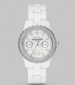 A bezel of sparkling crystals lends glamour to this sturdy, stylish timepiece.Quartz movement Water resistant to 5ATM Stainless steel case, 33mm (1.29) White dial Crystal hour markers Three chronograph sub dials Date display Second hand Acetate link bracelet Imported