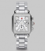 From the Deco Collection. A sleek stainless steel design with brilliant diamond accents and a chronograph dial. Swiss quartz movementWater resistant to 5 ATMRectangular stainless steel case, 33mm (1.3) X 35mm (1.4)Diamond bezel and markers, .66 tcwMother-of-pearl chronograph dialDate display at 6 o'clockSecond hand Stainless steel link bracelet, 18mm wide (0.7)Imported