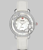 This limited edition timepiece boasts a diamond bezel with mother-of-pearl details on a sleek stainless steel link bracelet. Swiss quartz movementWater resistant to 5 ATMRound stainless steel case, 38mm (1.5)Diamond accented mother-of-pearl bezel, .63 tcwMother-of-pearl dialDot hour markersSecond hand Alligator strap, 16mm wide (0.6)Imported