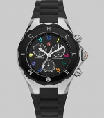 A sleek black dial is dotted with colorful hour markers for a distinctive timepiece.Swiss quartz movement Water resistant to 5 ATM Logo bezel Round stainless steel case, 40mm, (1.49) K1 mineral crystal Black chronograph dial Numeral hour markers Second hand Silicone strap Imported