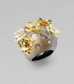 From the Lucite Collection. Dazzling Swarovski crystals, goldtone and powder-coated flowers embellish this hand-crafted lucite design. Hand-crafted luciteSwarovski crystalsGoldtone and powder-coatedWidth, about 1Made in USA