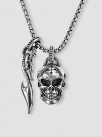 Unique neckwear features a finely detailed skull and Sparta accent in polished sterling silver. Includes 26 chain Skull: ½W X ¾H Sparta accent: ¼W X 1H Made in USA