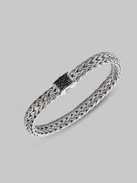 From the Classic Chain Collection. Interlocking sterling silver showcases a black sapphire pavé clasp.Black sapphire Sterling silver Length, about 7¼ Width, about ¼ Clasp closure Made in Bali Please note: Bracelets sold separately.