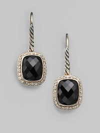 From the Noblesse Collection. A squared drop of faceted black onyx, framed by sparkling diamonds, hangs from a cable of sterling silver. Diamonds, 0.42 tcw Black onyx Sterling silver Drop, about ½ Ear wire Imported
