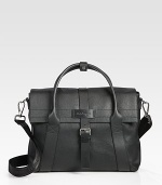 A smart, streamlined design that is versatile enough to carry you from work to weekend, featuring interior compartments for all of your daily essentials, finished in richly textured Italian leather.Magnetic, buckle closureDouble top handleAdjustable shoulder strapInterior zip pocketFully linedLeather42W x 26H x 11DMade in Italy