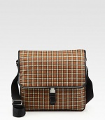 Plaid pattern shaped in a slim silhouette of tessuto nylon, for maximum comfort and wearability.Flap closureAdjustable shoulder strapInterior zip pocketsNylon11¾W x 10½H x 2½DMade in Italy