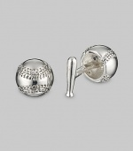 From the Sports Collection. Hit a stylistic home run with baseball and bat links in rich sterling silver. Sterling silver Back bat closure About ½ diam. Made in USA