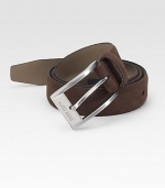 A sophisticated classic, designed in soft suede with a brushed silver buckle. About 1 wide Imported