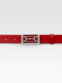Sleek leather belt with bit detail buckle.LeatherAbout 1¼ wideMade in Italy