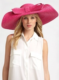 Glamorous and playful, accented with a floppy front bow.StrawBrim, about 6¾ wideMade in Italy of imported fabric