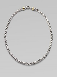 From the Silver Classics Collection. A striking chain in a woven wheat pattern of sterling silver manages to be at once graceful and bold, with 14k gold accents near the clasp. Sterling silver and 14k yellow gold Length, about 16 Lobster clasp Made in USA