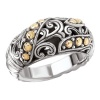 925 Silver Dome Swirl & Dot Ring with 18k Gold Accents- Sizes 6-8