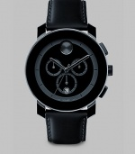 A sleek and modern timepiece designed with three-eye chronograph functionality and Swiss quartz precision. Round bezel Quartz movement Three-eye chronograph functionality Water resistant to 3 ATM Date function at 6 o'clock Second hand Stainless steel/composite case: 43.5mm (1.71) Leather strap Imported
