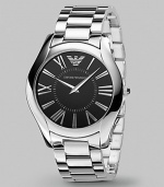 Ultimate sophistication for any gentleman in gleaming stainless steel with a black dial. Quartz movement Water resistant to 3 ATM Date function at 4 o'clock Second hand Stainless steel case: 43mm (1.69) Steel bracelet: 22mm (0.87) Deployment clasp Imported