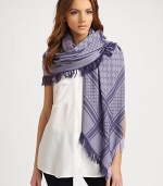 Wool/silk GG pattern shawl with fringe trim. About 45 X 49 70% wool/30% silk; dry clean Made in Italy