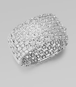 EXCLUSIVELY AT SAKS. Morse code inspired with sparkling crystal dots and dashes.Crystal Rhodium plated Width, about 1¼ Diameter, about 2½ Hinged closure Imported