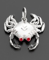 Ocean lovers delight! This cute crab charm by Rembrandt Charms is crafted in sterling silver & red crystal accents. Approximate drop: 3/4 inches.