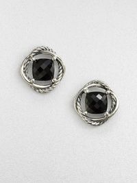 A stunning, faceted center stone surrounded by an iconic, sterling silver cable ring. Black onyxSterling silverSize, about .27Post backImported