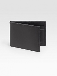 Sleek, slim design rendered in subtly pebbled calfskin leather.One billfold compartmentFour card slotsLeather4½W x3½HImported