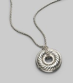 From the Carved Cable Collection. Pavé diamonds border a petite disk pendant with signature sculpted cable design, elegantly hanging from a sterling silver box chain. Diamonds, 0.15 tcw Sterling silver Length, about 17 Lobster clasp Imported