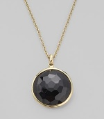 From the Lollipop Collection. A richly faceted onyx drop set in 18k yellow gold, dangling from a delicate gold chain. Black onyx 18k yellow gold Chain adjusts from about 16 to 18 Pendant diameter, about ¾ Spring ring clasp Imported