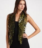 Lavish Italian silk square in exotic leopard print. About 35 X 35 Silk; dry clean Made in Italy