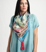 A glorious woven silk scarf with a perfectly charming print.42 X 42SilkHand washImported