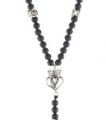 King Baby Crowned Heart and Small Traditional Cross and Onyx Bead Rosary