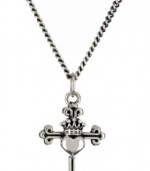 King Baby 18 Curb Link Chain with Small Traditional Cross with Heart Pendant Necklace