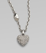 Be brilliant in this dazzling crystal encrusted heart pendant on a logo accented link chain. Palladium platedCrystalsLength, about 14Pendant size, about ½Spring ring closureMade in Italy