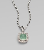 From the Petite Albion Collection. An exquisite design with dazzling pavé diamonds surrounding an aqua chalcedony stone center set in sterling silver on a box link chain. Aqua chalcedonyDiamonds, .2 tcwSterling silverLength, about 17Pendant size, about ¼Lobster clasp closureImported