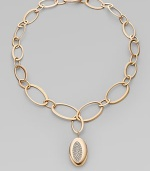 From the Capri Plus Collection. The dazzle of diamonds in a shapely pendant joins the warm glow of 18k rose gold in this elegant oval link design.Diamonds, .75 tcw 18k rose gold Length, about 16 Pendant length, about 1 Lobster clasp Made in Italy