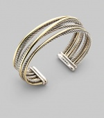 From the Silver Classics Collection. Sterling silver and 18K gold crossover bracelet. Made in USA.