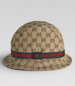 Distinctive double-G topper sports a teddy bear logo tab on the snappy striped hat band.Rounded crown Striped band 65% polyester/35% cotton Made in Italy